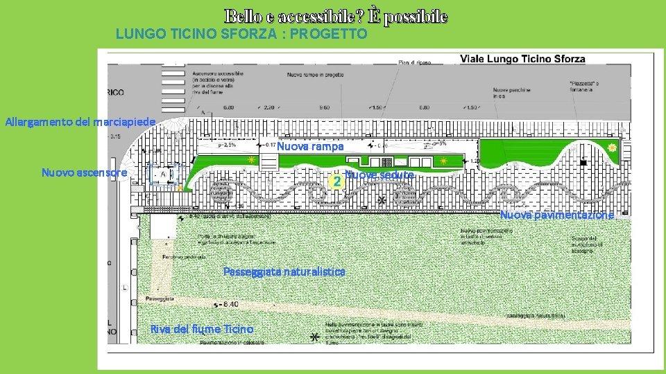 Bello e accessibile? È possibile LUNGO TICINO SFORZA : PROGETTO Allargamento del marciapiede Nuova