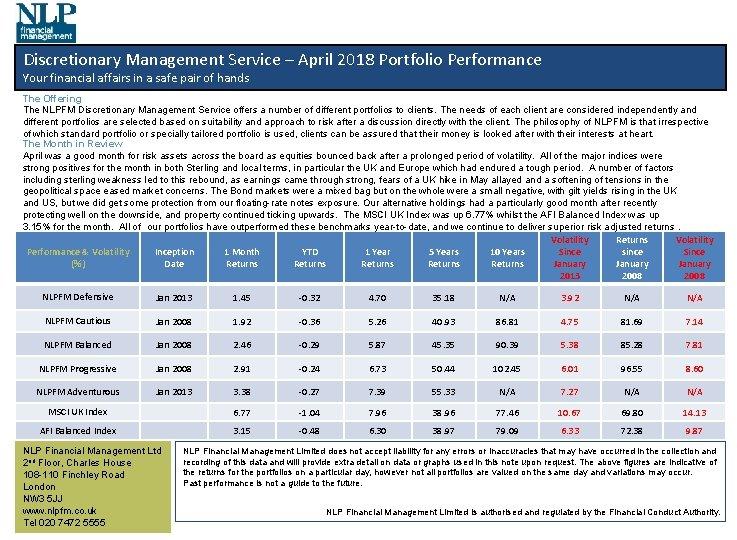 Discretionary Management Service – April 2018 Portfolio Performance Your financial affairs in a safe