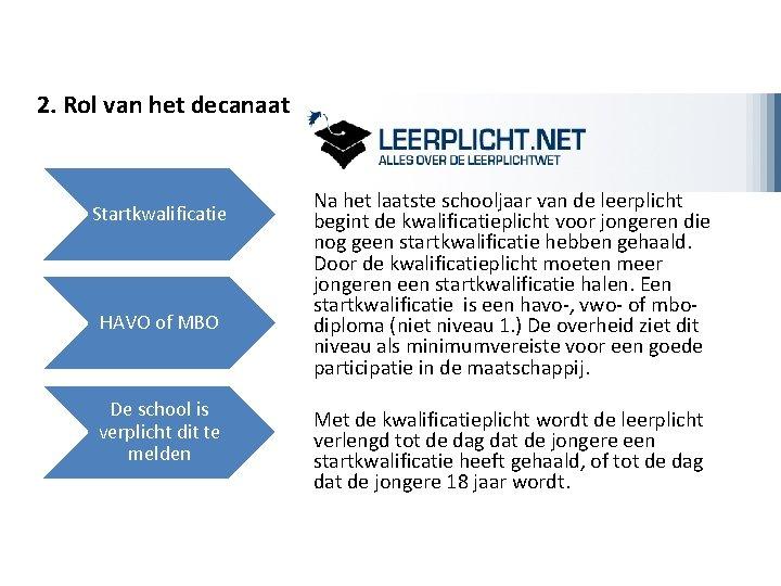 2. Rol van het decanaat Startkwalificatie HAVO of MBO De school is verplicht dit