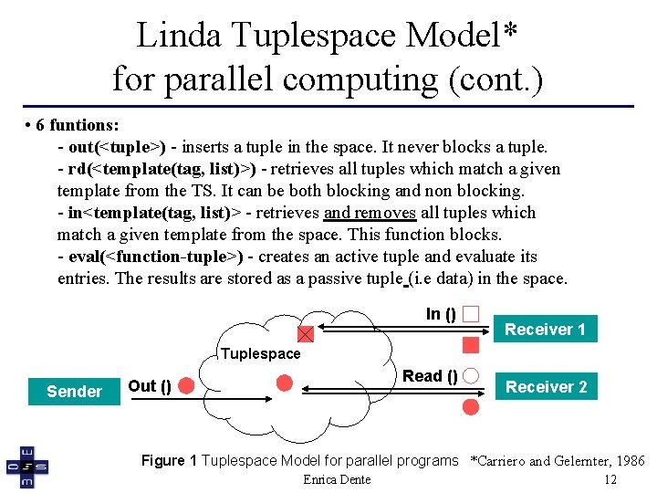Linda Tuplespace Model* for parallel computing (cont. ) • 6 funtions: - out(<tuple>) -
