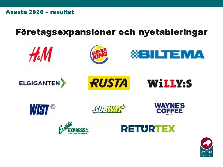 Avesta 2020 – resultat Företagsexpansioner och nyetableringar