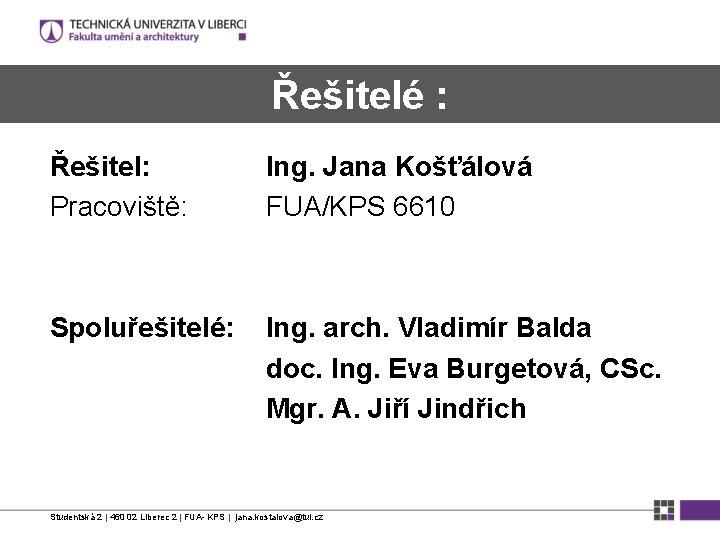 Řešitelé : Řešitel: Pracoviště: Ing. Jana Košťálová FUA/KPS 6610 Spoluřešitelé: Ing. arch. Vladimír Balda