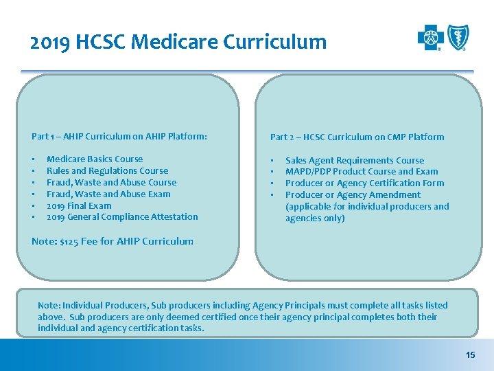 2019 HCSC Medicare Curriculum Part 1 – AHIP Curriculum on AHIP Platform: • •