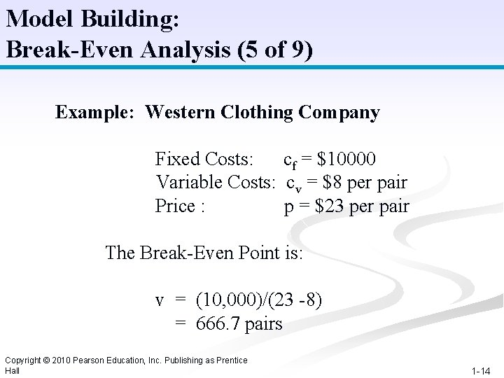 Model Building: Break-Even Analysis (5 of 9) Example: Western Clothing Company Fixed Costs: cf