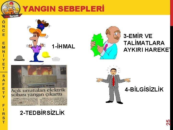 YANGIN SEBEPLERİ 1 -İHMAL 3 -EMİR VE TALİMATLARA AYKIRI HAREKET 4 -BİLGİSİZLİK 25 2