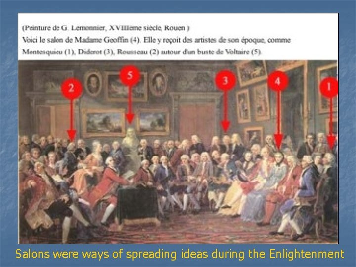 Salons were ways of spreading ideas during the Enlightenment