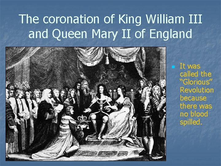 The coronation of King William III and Queen Mary II of England n It