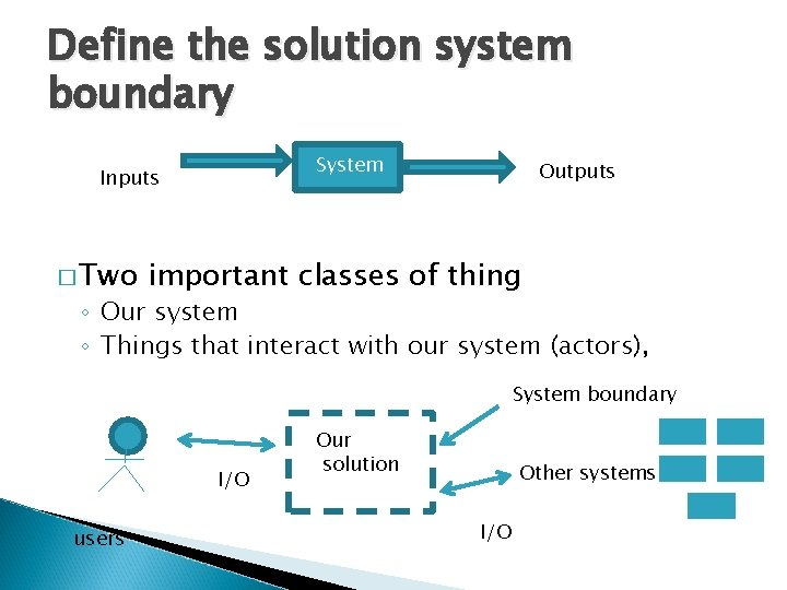 Define the solution system boundary System Inputs � Two Outputs important classes of thing
