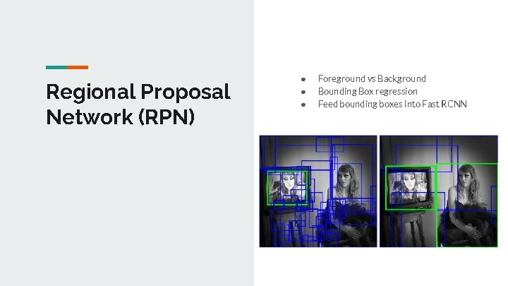 Regional Proposal Network (RPN) ● ● ● Foreground vs Background Bounding Box regression Feed