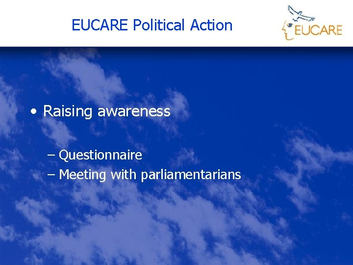 EUCARE Political Action • Raising awareness – Questionnaire – Meeting with parliamentarians