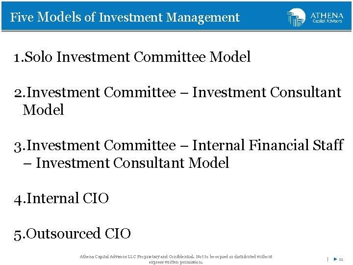 Five Models of Investment Management 1. Solo Investment Committee Model 2. Investment Committee –