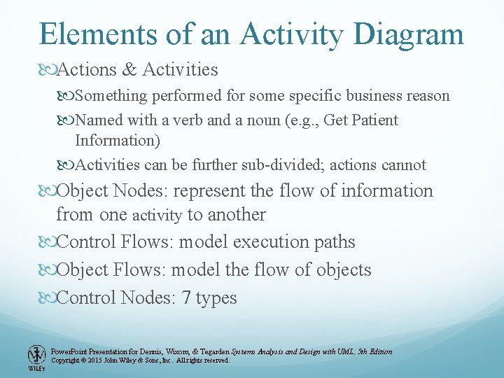 Elements of an Activity Diagram Actions & Activities Something performed for some specific business