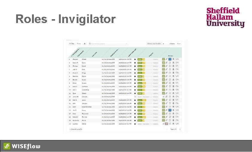 Roles - Invigilator