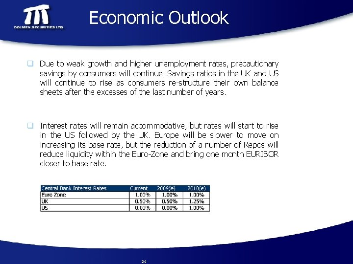 Economic Outlook q Due to weak growth and higher unemployment rates, precautionary savings by