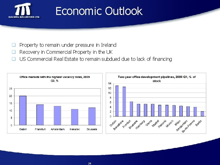 Economic Outlook q Property to remain under pressure in Ireland q Recovery in Commercial