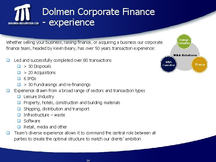 Dolmen Corporate Finance - experience Whether selling your business, raising finance, or acquiring a