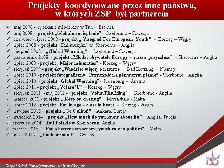 Projekty koordynowane przez inne państwa, w których ZSP był partnerem ü maj 2008 -
