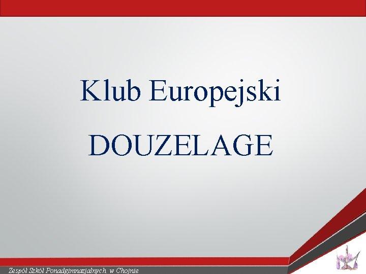 Klub Europejski DOUZELAGE Zespół Szkół Ponadgimnazjalnych w Chojnie