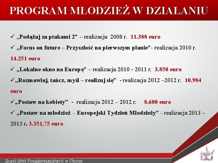 """PROGRAM MŁODZIEŻ W DZIAŁANIU ü """"Podążaj za ptakami 2"""" – realizacja 2008 r. 11."""
