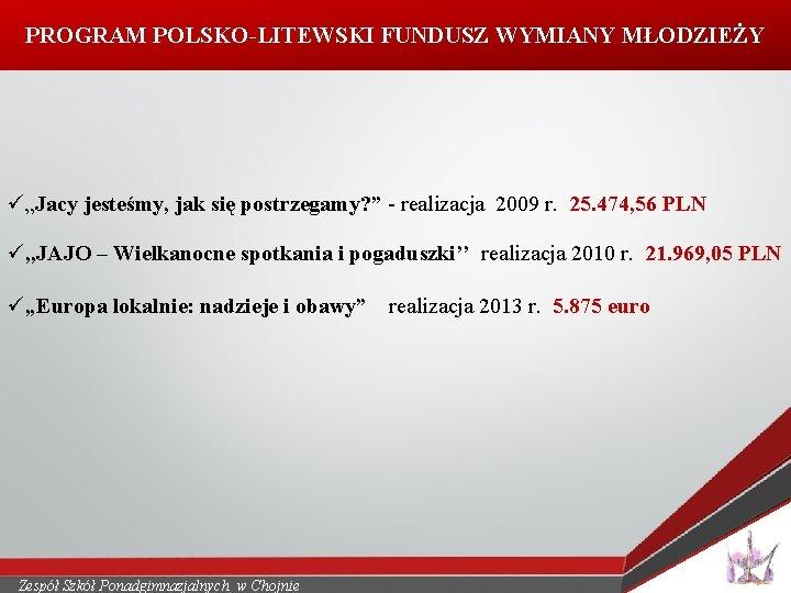 """PROGRAM POLSKO-LITEWSKI FUNDUSZ WYMIANY MŁODZIEŻY ü""""Jacy jesteśmy, jak się postrzegamy? """" - realizacja 2009"""