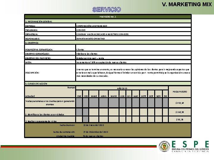 V. MARKETING MIX SERVICIO PROYECTO No. 1 1. INFORMACIÓN GENERAL EMPRESA: CORPORACIÓN SAN FRANCISCO