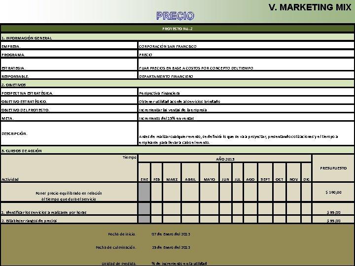 V. MARKETING MIX PRECIO PROYECTO No. 2 1. INFORMACIÓN GENERAL EMPRESA: CORPORACIÓN SAN FRANCISCO