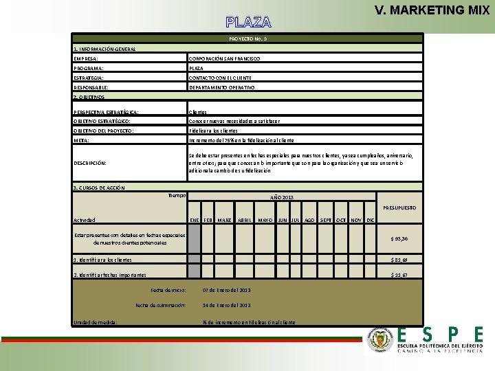 V. MARKETING MIX PLAZA PROYECTO No. 5 1. INFORMACIÓN GENERAL EMPRESA: CORPORACIÓN SAN FRANCISCO