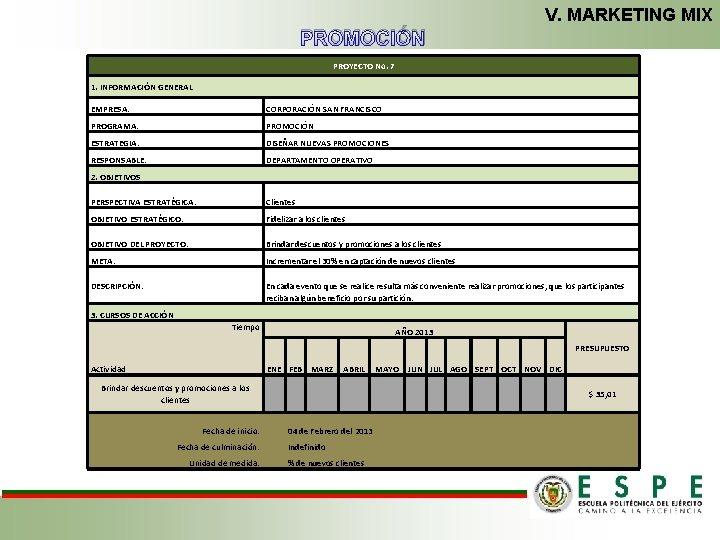 V. MARKETING MIX PROMOCIÓN PROYECTO No. 7 1. INFORMACIÓN GENERAL EMPRESA: CORPORACIÓN SAN FRANCISCO