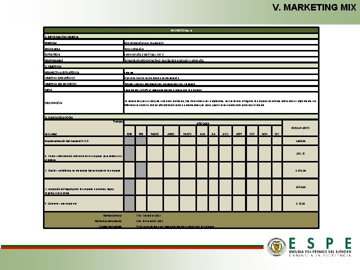 V. MARKETING MIX PROYECTO No. 9 1. INFORMACIÓN GENERAL EMPRESA: CORPORACIÓN SAN FRANCISCO PROGRAMA: