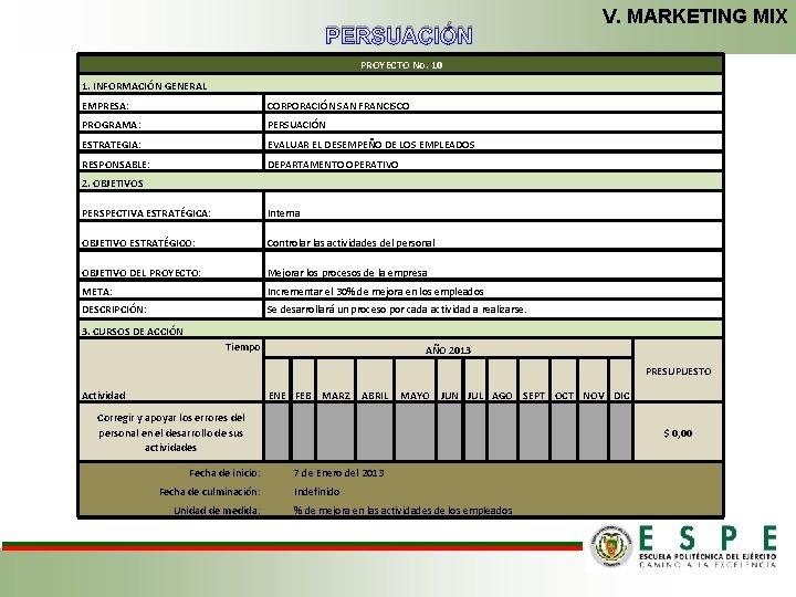 V. MARKETING MIX PERSUACIÓN PROYECTO No. 10 1. INFORMACIÓN GENERAL EMPRESA: CORPORACIÓN SAN FRANCISCO