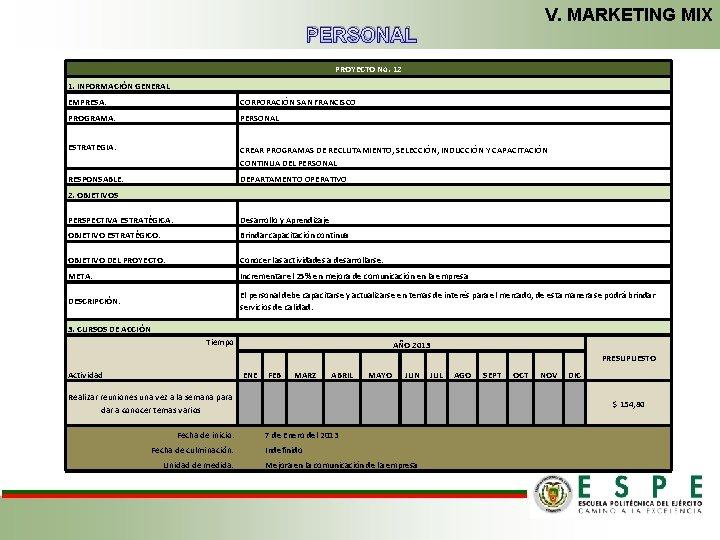 V. MARKETING MIX PERSONAL PROYECTO No. 12 1. INFORMACIÓN GENERAL EMPRESA: CORPORACIÓN SAN FRANCISCO