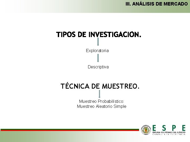 III. ANÁLISIS DE MERCADO Exploratoria Descriptiva TÉCNICA DE MUESTREO. Muestreo Probabilístico: Muestreo Aleatorio Simple