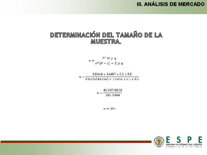 III. ANÁLISIS DE MERCADO DETERMINACIÓN DEL TAMAÑO DE LA MUESTRA.