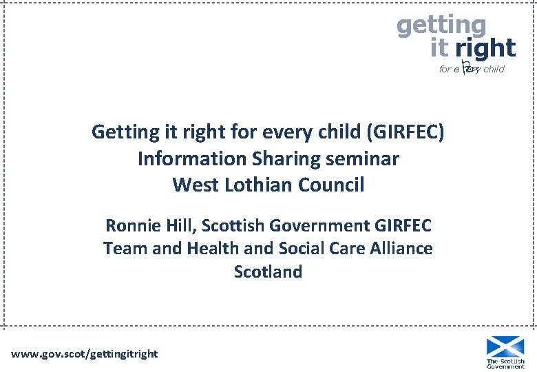 getting it right P for e ery child Getting it right for every child