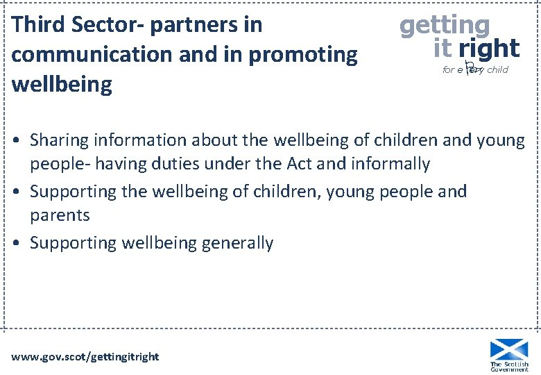 Third Sector- partners in communication and in promoting wellbeing getting it right P for