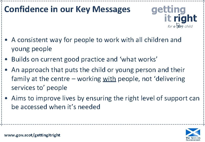 Confidence in our Key Messages getting it right P for e ery child •
