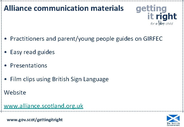 Alliance communication materials getting it right P for e ery child • Practitioners and