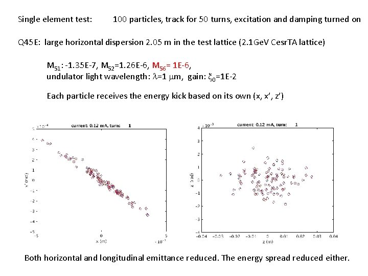Single element test: 100 particles, track for 50 turns, excitation and damping turned on