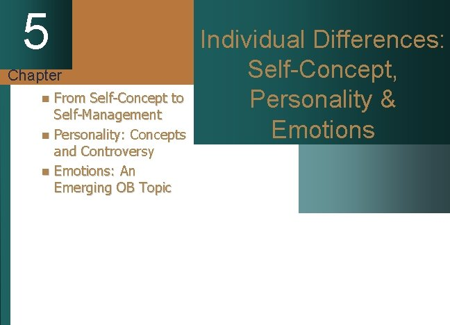 5 Chapter From Self-Concept to Self-Management n Personality: Concepts and Controversy n Emotions: An