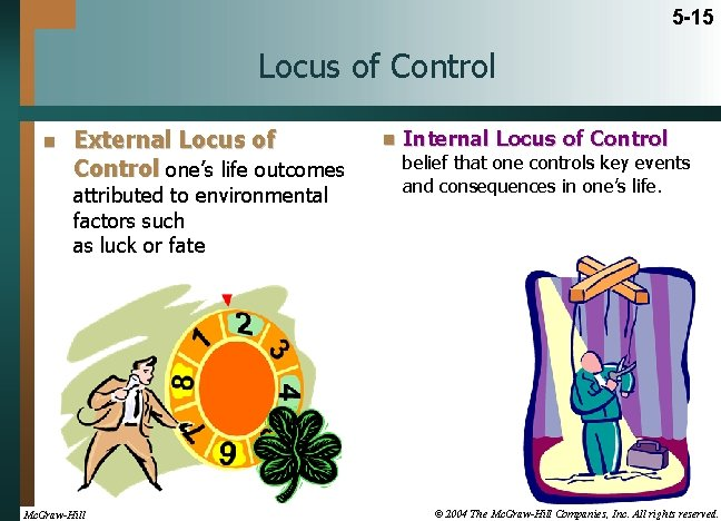 5 -15 Locus of Control n External Locus of Control one's life outcomes attributed