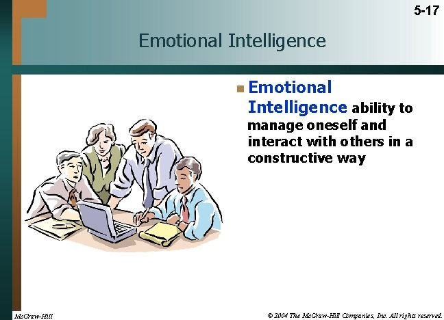 5 -17 Emotional Intelligence n Emotional Intelligence ability to manage oneself and interact with