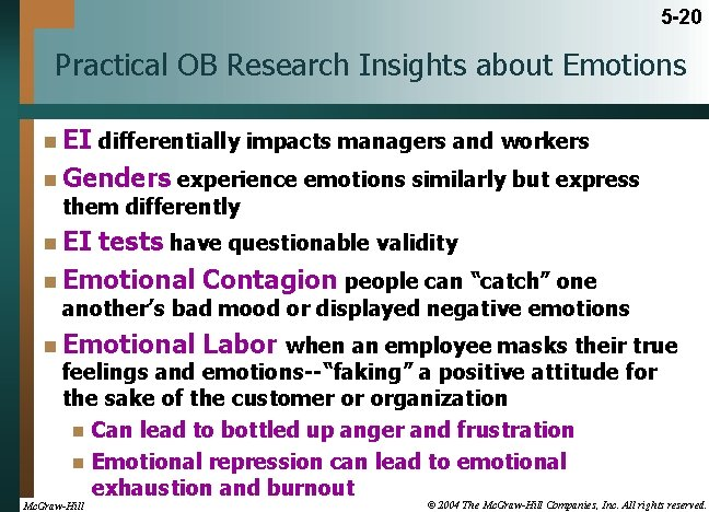 5 -20 Practical OB Research Insights about Emotions n EI differentially impacts managers and