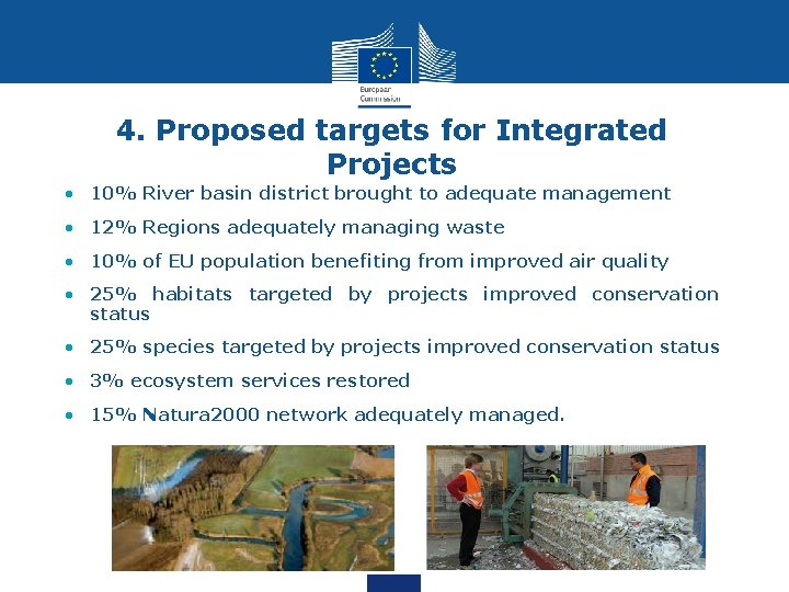 4. Proposed targets for Integrated Projects • 10% River basin district brought to adequate