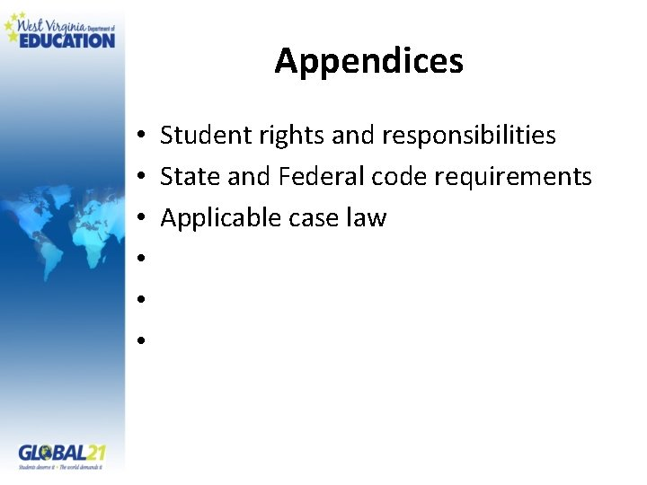 Appendices • Student rights and responsibilities • State and Federal code requirements • Applicable