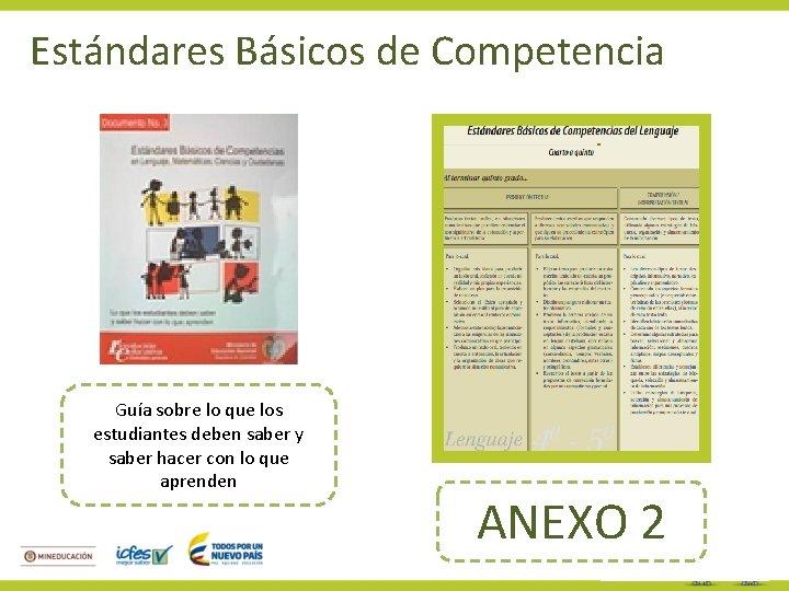 Estándares Básicos de Competencia Guía sobre lo que los estudiantes deben saber y saber