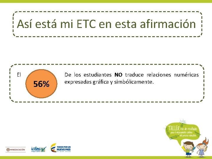 Así está mi ETC en esta afirmación El 56% De los estudiantes NO traduce