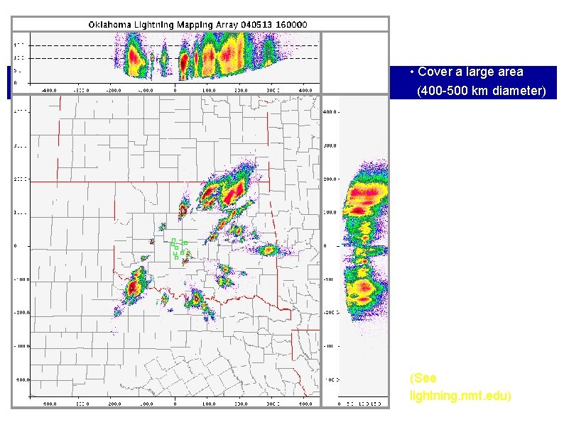 Oklahoma LMA data: Real time observations: • Cover a large area (400 -500 km