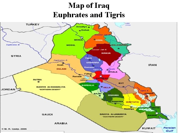 Map of Iraq Euphrates and Tigris