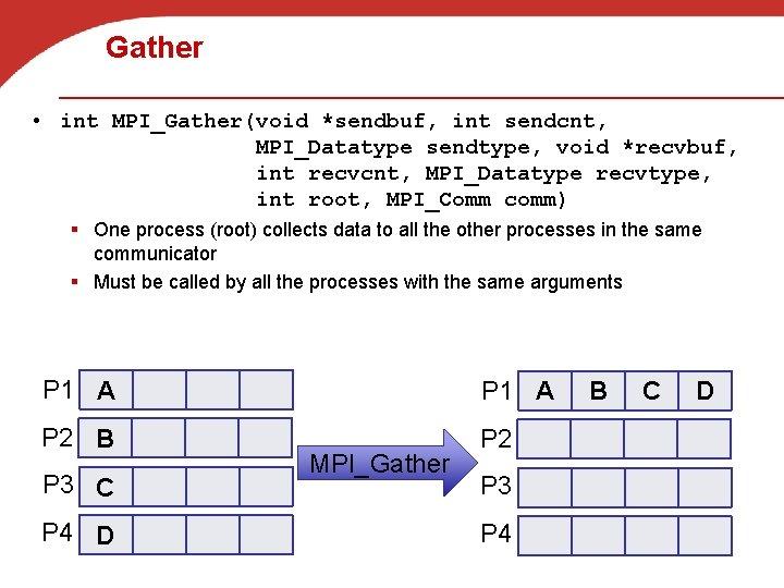 Gather • int MPI_Gather(void *sendbuf, int sendcnt, MPI_Datatype sendtype, void *recvbuf, int recvcnt, MPI_Datatype