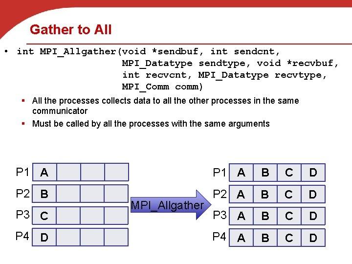 Gather to All • int MPI_Allgather(void *sendbuf, int sendcnt, MPI_Datatype sendtype, void *recvbuf, int